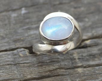 Rainbow Moonstone Ring,  925 Sterling Silver Ring,  Moonstone Cocktail Ring Personalized Ring, Gemstone Ring, Artisan Jewelry Gift Ring