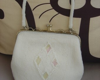 SUMMER  SALE..REDUCED.La soir White..Vintage Beaded Evening Bag.Handbag.Hand finished.Perfect re Weddings.Bridesmaids/mothers of the bride.