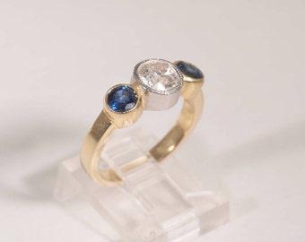 18k Yellow Gold Diamond and Sapphire Ring w/1.0 ct. Center Mine Cut Diamond