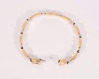 "14K Yellow Gold Two Toned Bracelet, 7.5"" long"