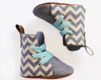 Chevron Grey Hightop Boots Soft Soled Baby Toddler Shoes Lace Up | Boxing Boots