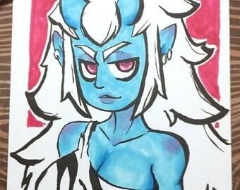 Oni Monster Girl 6x9 Original Marker Drawing/Illustration