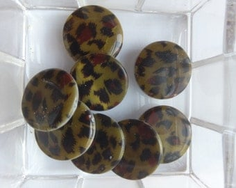 "Beads, Acrylic Leopard Beads, Approx 3/4"" or the size of a Nickel, Listing is for 5 Beads"