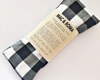 Lavender Scented Eye Pillow Cool / Heat Packs Black White Gingham