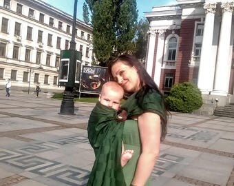 Baby Ring Sling Baby Carrier Wrap Conversion Baby Sling Infant Carrier Newborn Toddler Ring Sling Baby Shower Pure Cotton Green Babywearing