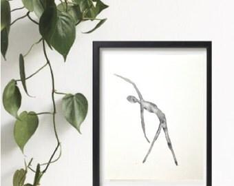 Yoga watercolor painting, 8x10, Original watercolour painting, Yoga studio decor, Black and white print, decor, Asana art, Yoga posture art