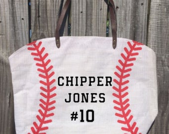 Custom Baseball Tote Bag // Player's Name and/or Number Baseball Tote Bag // Baseball Tote // Baseball Stitch Bag