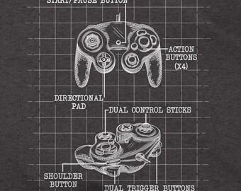 Gamecube Controller Blueprint - Gamer T-Shirt