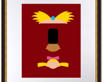 Hey Arnold Minimalist Art-90's Nickelodeon-Arnold, Gerald, Helga-Digital Print