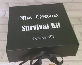 Grooms Survival Kit,, LARGE Groom Box, Groomsman Gift Box, Grooms Box, Bestman Box, Groomsmen Gifts, Groom Gift, Best Man Gift