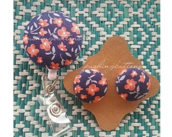 Navy Blue Floral FabricButtonEarrings or Badgeholder