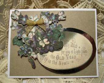 NEW YEARS VIOLETS - designer handcrafted 3D greeting card