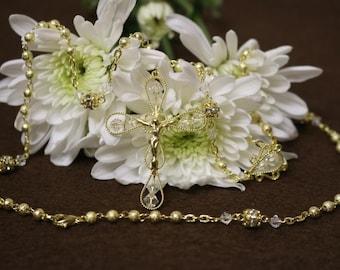 Sparkle gold Rosary Beads, Catholic rosary, Catholic rosary, Rosary for wedding, First communion rosary, Wedding rosary, Rosary in Gold