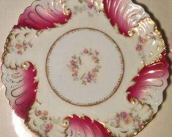 Pretty In Pink-Limoges France 9 Inch Plate
