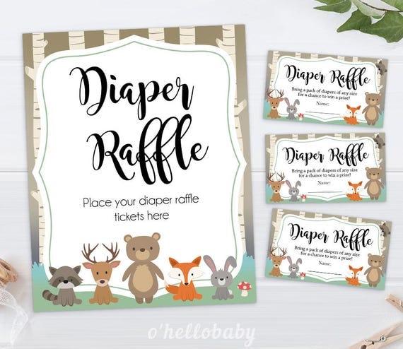 diaper raffle baby shower game woodland animals gender