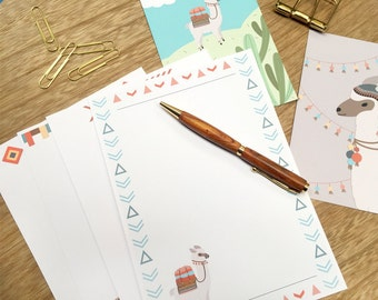 Writing Set- Llama Lover, bonus 4x6 cards, stationery, writing set, letter set