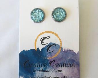 Baby blue glitter stud earrings
