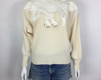 Vtg 70s 80s batwing leather bird applique cocoon ivory sweater by suzelle medium