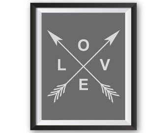 Grey and White Nursery, Art Print, Love Print, Love Arrow, Grey Nursery Decor, Nursery Wall Art, Printable Art, Wall Decor, Grey Wall Art