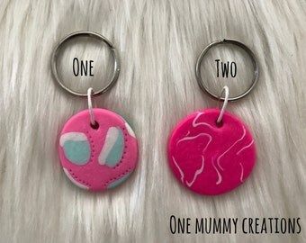 Handmade Polymer Clay Key Rings - Fluro pink and White - Hot Pink, White and Mint