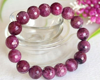 Natural Genuine Purple Red  Ruby Stretch Finish Bracelet Faceted Round beads 12mm 04348