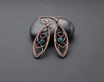Apatite earrings, drop earrings, , copper earrings, wire wrap jewelry, wire wrap earrings, wire jewelry, gemstone jewellery, gift for her