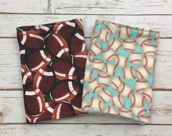 Sports Baby Burp Cloth Set  - New Baby Gift - Sports Thenr Baby Shower Gift - Football Burp Cloth - Baseball Burp Cloth