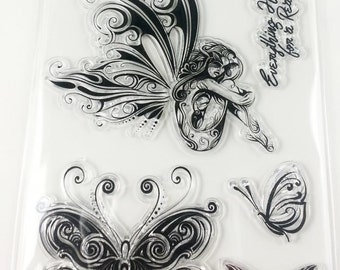 Clear stamp set acrylic silicone stamp fairy fairy Butterfly saying flower ornaments scrapbooking scrapbook clear stamps