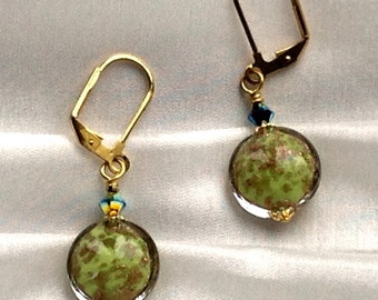 Earrings - handmade  Murano glass beads in green