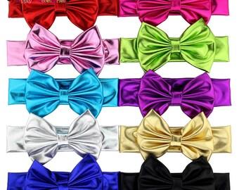 Metallic bow Headband-metallic headband-Baby Headband-Toddler Headband- Hair Bows-Fabric bows-headband