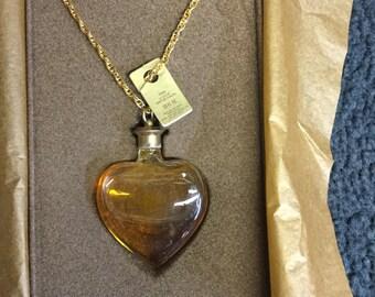 Rare Fame CORDAY La Coeur Perfume Flacon Necklace Heart shaped bottle.33 FL OZ