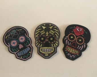 Set 3 stuks - Sugar Skull patch - Sew On Actief