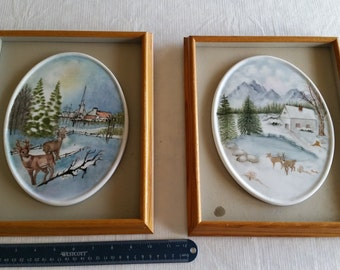 2 vintage framed porcelain oval picture tiles in wooden shadow box 1970's by signed artist freda - winter scenes art church deer photo wood