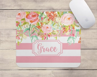 Personalized Floral Mouse Pad - Pink Floral Stripe - Mousepad Monogram Custom Office Decor Desk Accessories Best Seller Floral Gifts