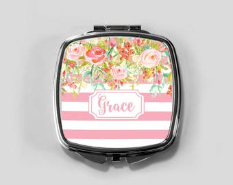 Personalized Mirror Case - Pink Stripe Floral Drop - Compact Mirror Case Gifts for Her Monogrammed Gifts Perfect Spring Accessory