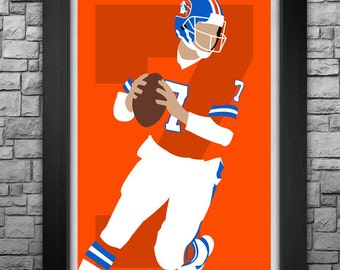 JOHN ELWAY minimalism style limited edition art print. Choose from 3 sizes!