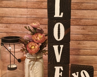 Love wood blocks, love wood sign, wood decor, repurposed wood sign, wood sign, hand painted motivation, standing sign