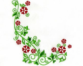 Red And Green Flower Border Digital Embroidery Design