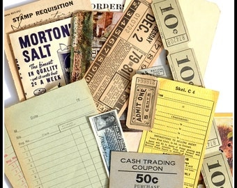 Assorted Neutral Ephemera - Vintage Papers / Tickets / Labels - Vintage Ephemera