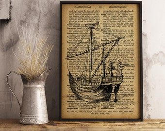 Ship poster, Ship Illustration, Ship Dictionary Art Print, Nautical print Vintage Ship art, Ship drawing Home Decor, Ship Canvas Print (K03)