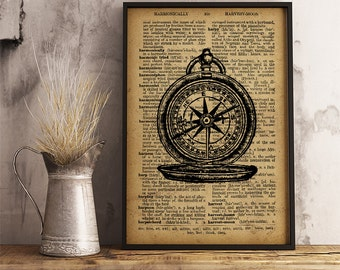 Antique Compass print, Vintage style dictionary print, Compass poster, Vintage Compass wall art, antique Compass illustration (V03)