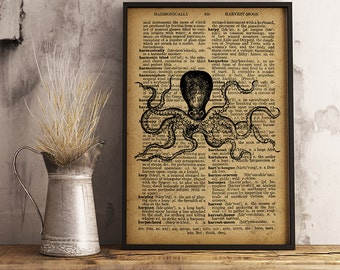 Octopus art print Nautical decor Sea life poster Nautical Wall Art, Octopus poster marine life Ocean Decor Beach decor (R33)