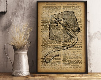 Nautical art Poster Ray print Rustic decor, Ray wall art print, Beach house decor, Home decor, office decor, cabin decor (R36)