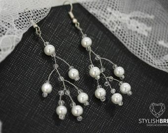 Pearl Wedding Earrings, Bridal Pearl Earrings, Handmade Earrings, Handmade Pearl Earrings, Jewelry Earrings, Handmade Jewelry, Wire Earrings