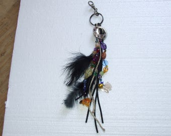 Beads and Feathers Keychain with Charms