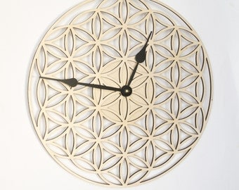 Wall Clock FLOWER OF LIFE, Wooden Clock, Wood clock, Wooden Wall Clock, Modern Clock, Unique clock, Sacred Geometry