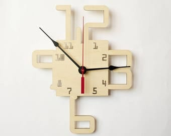 Large wall clock, Wooden wall clock, Wood clock, Wall clock, Modern large clock, Kitchen clock,