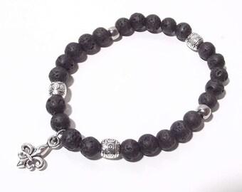 Bracelet Stretch Bracelet lava charm gemstones Yoga Buddha meditating