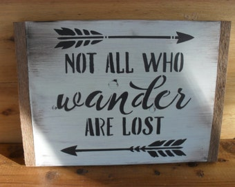 "Reclaimed Wood Sign ""Not All Who Wander Are Lost"" Arrows Rustic Wall Art Decor"