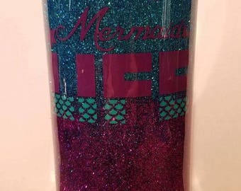 20 oz Tumbler Ombre Glitter with 2 vinyl decals